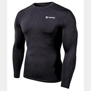Tesla Men's Compression Base Layer Shirt Black NWT
